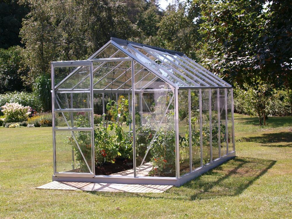 skleník VENUS 7500 stříbrný prosklení ze skla 3 mm