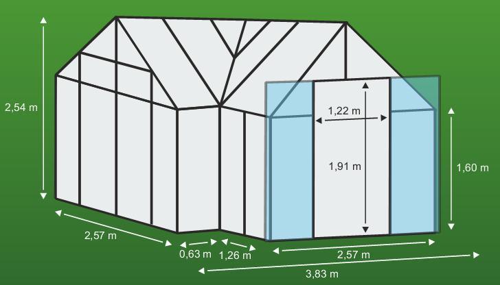 skleník VITAVIA SIRIUS čiré sklo 3 mm zelený