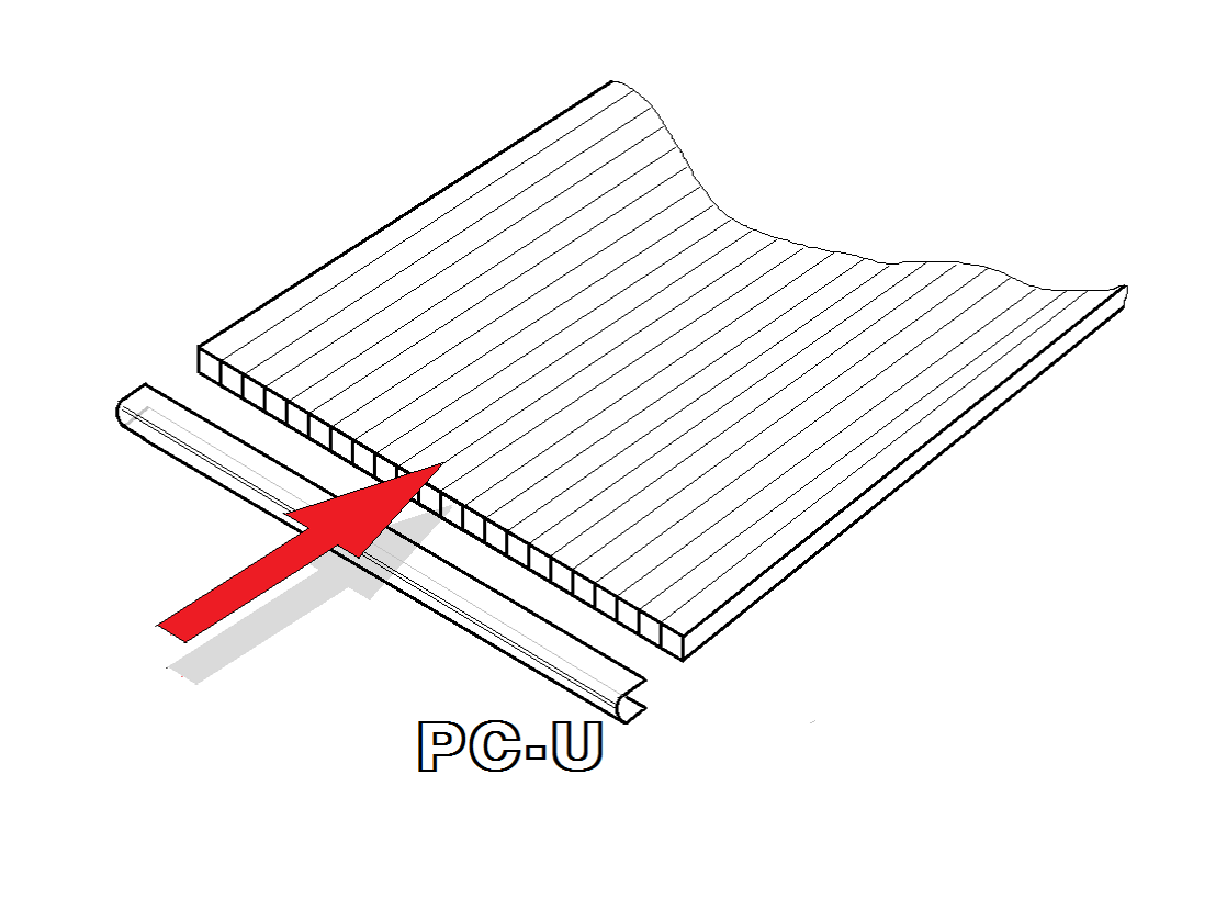 PC U-profily 4 mm pro skleník LANITPLAST DODO 8x12