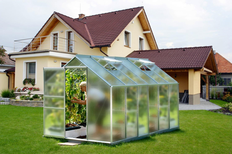skleník VITAVIA VENUS 7500 matné sklo 4 mm stříbrný