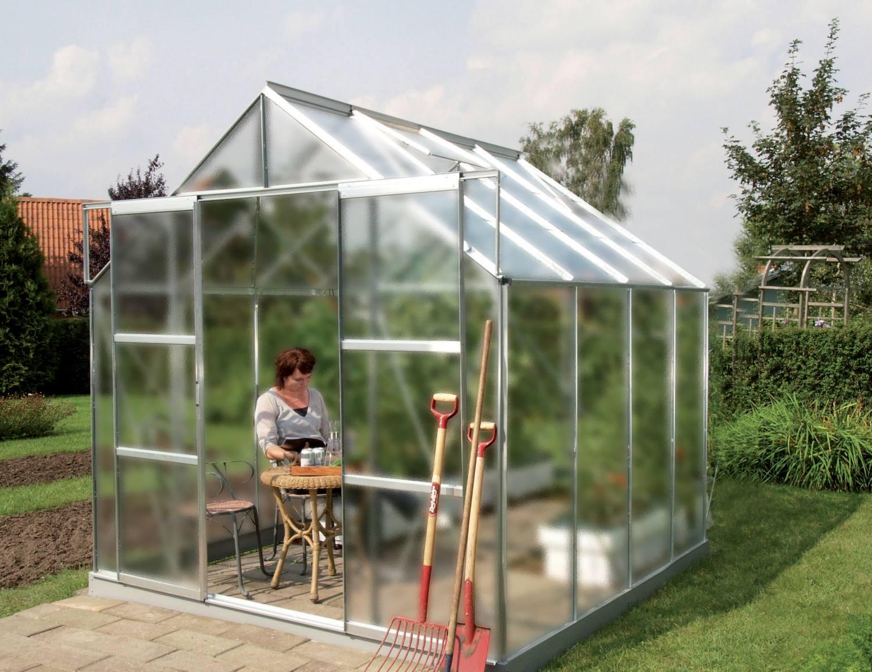 skleník VITAVIA URANUS 6700 matné sklo 4 mm stříbrný