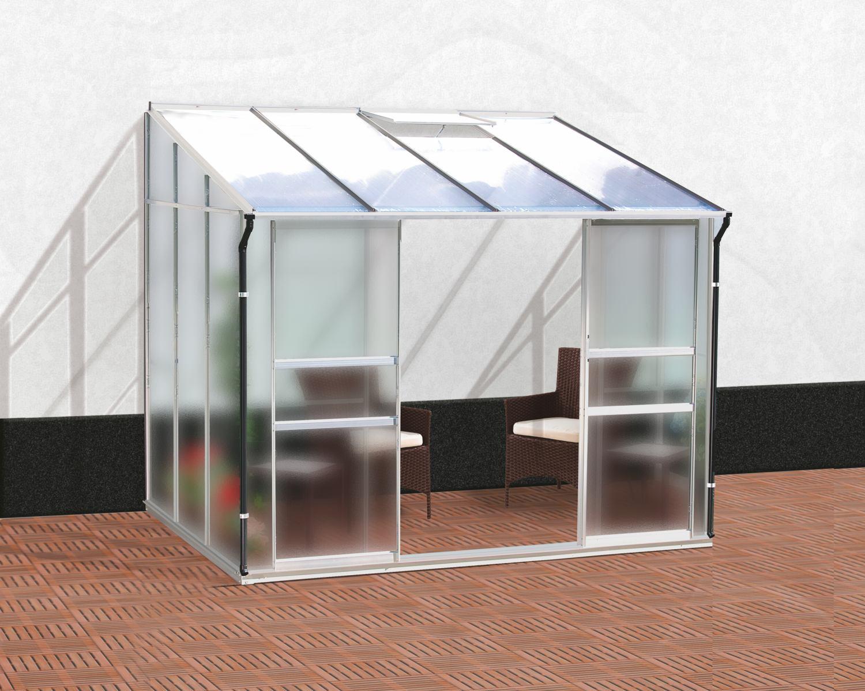 skleník VITAVIA IDA 5200 matné sklo 4 mm + PC 6 mm stříbrný