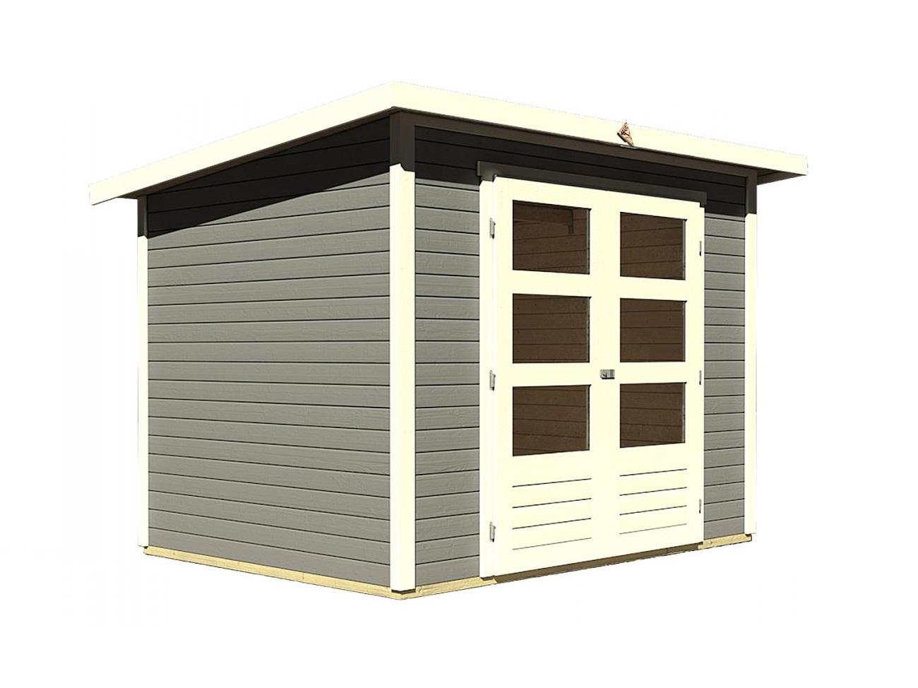 dřevěný domek KARIBU STOCKACH 3 (82979) tm. šedý