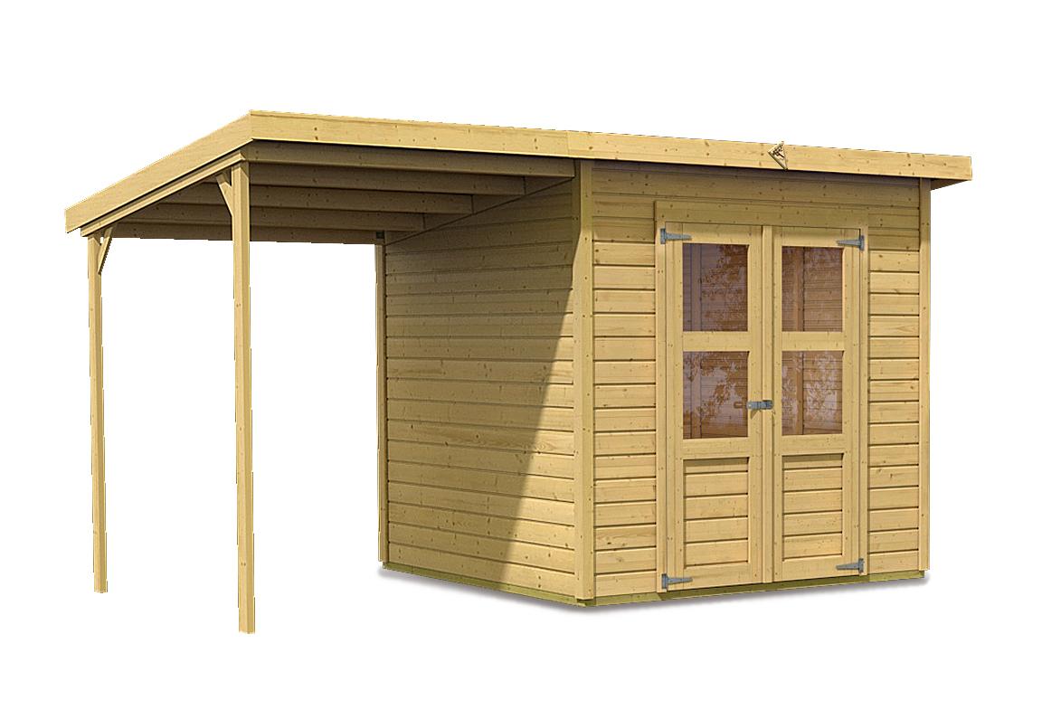 dřevěný domek KARIBU MERSEBURG 4 + přístavek 166 cm (68765) natur