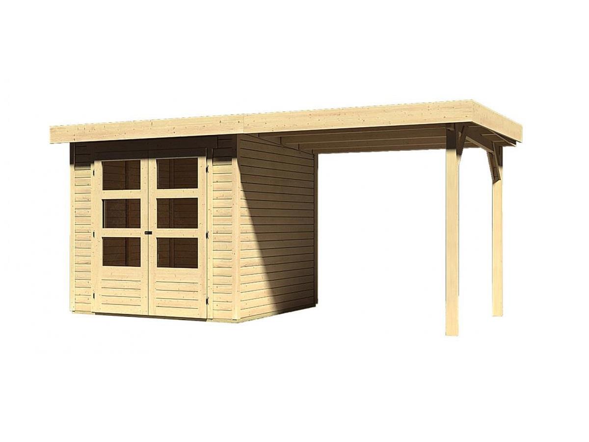 dřevěný domek KARIBU ASKOLA 2 + přístavek 240 cm (73245) natur