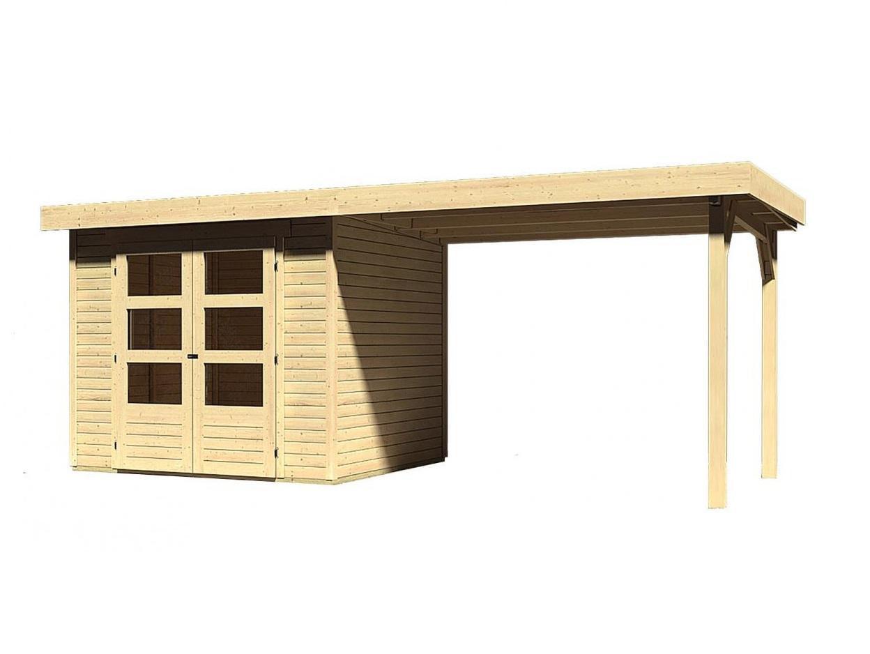 dřevěný domek KARIBU ASKOLA 3 + přístavek 280 cm (77726) natur