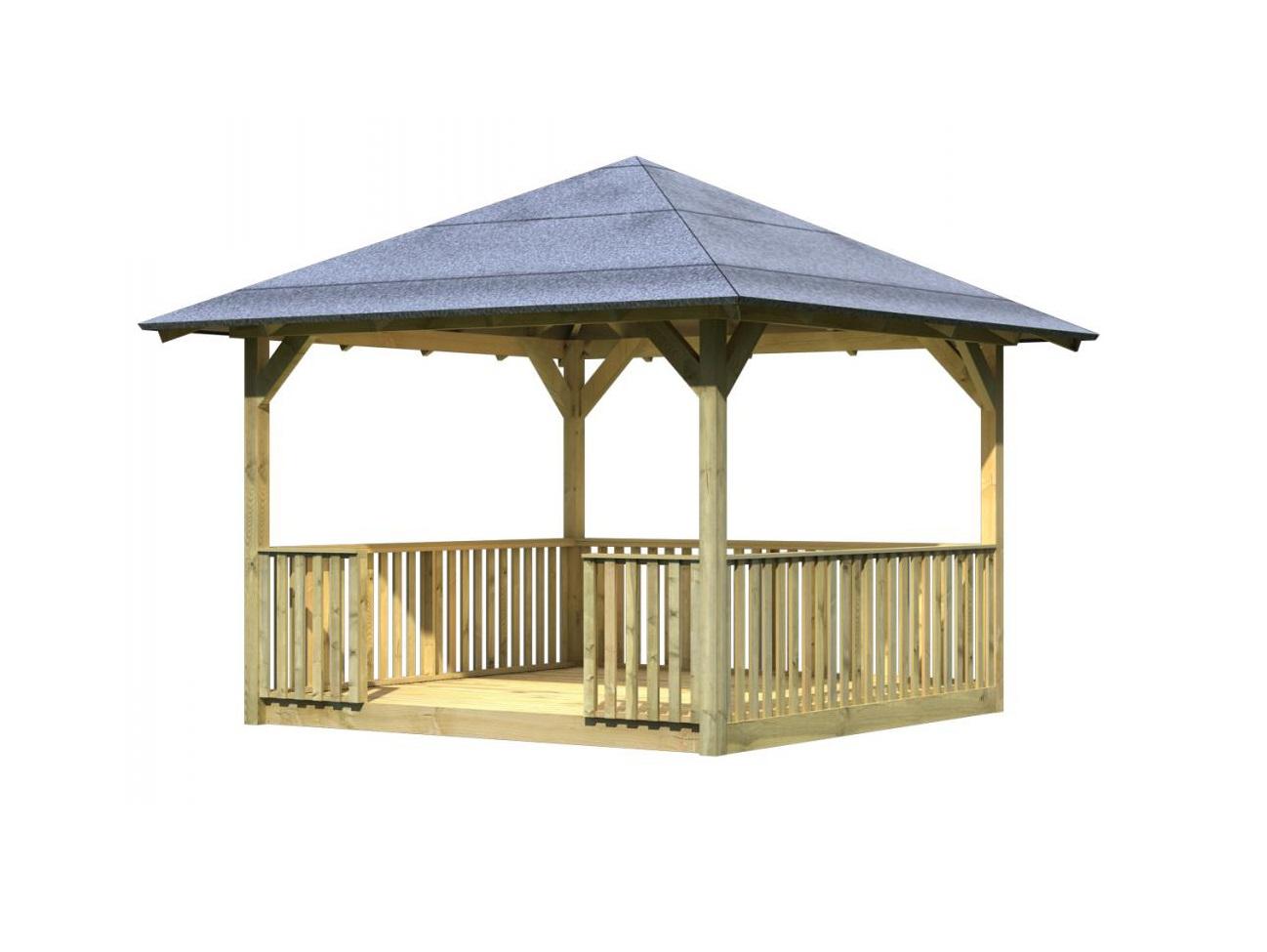 KARIBU CORDOBA 61560 zahradní altán set s podlahou a zábradlím