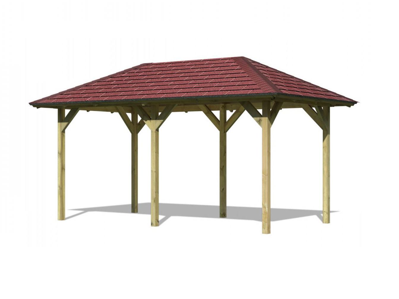 KARIBU LILLEHAMMER 2 68818  zahradní altán vč. červeného střešního šindele