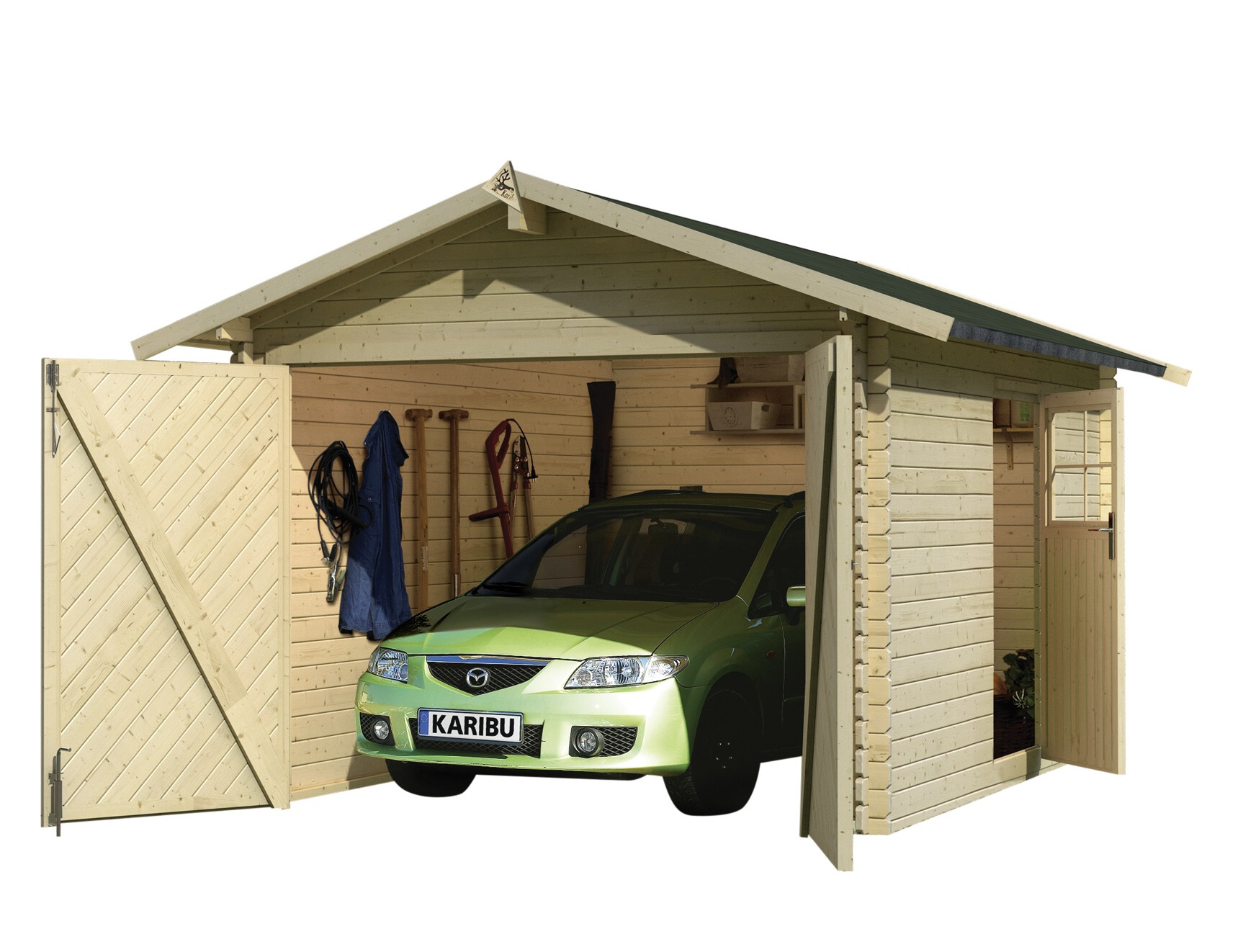 dřevěná garáž KARIBU 54133 28 mm natur