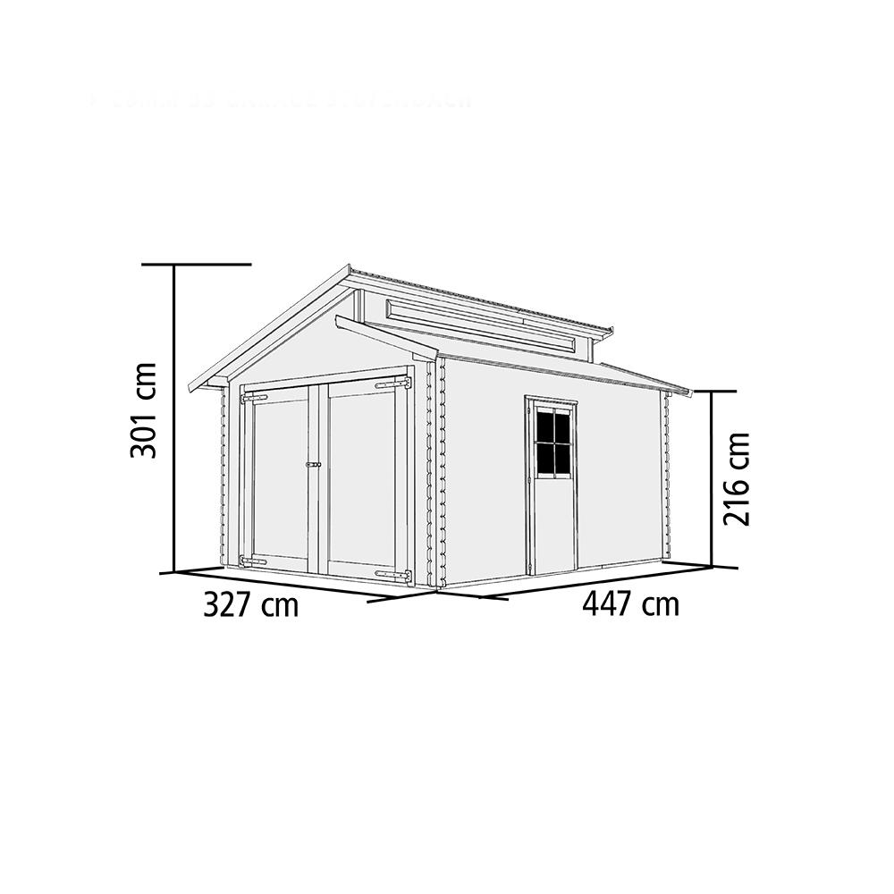 dřevěná garáž KARIBU 58440 28 mm natur
