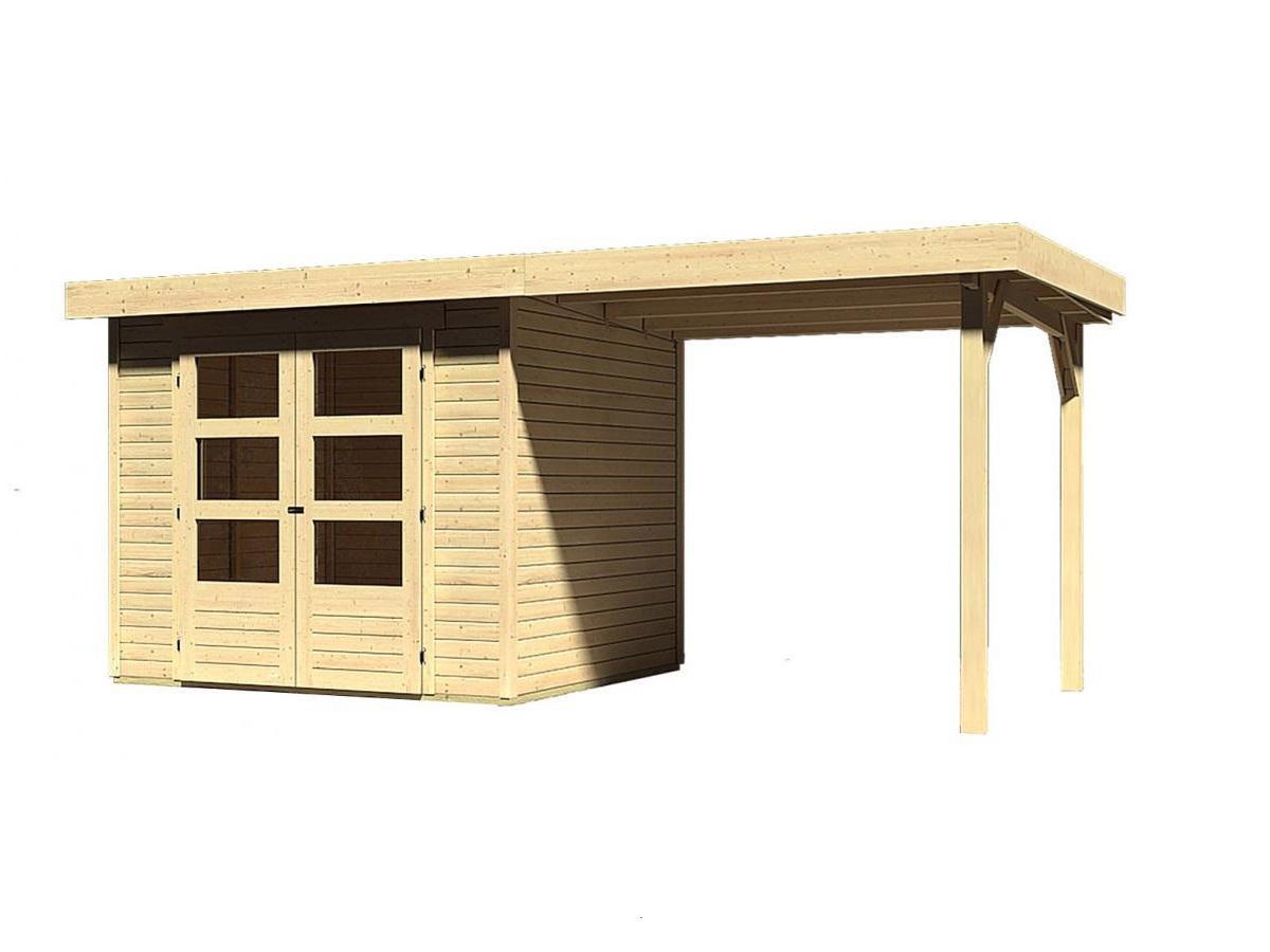 dřevěný domek KARIBU QUBIC 2 + přístavek 270 cm (89397) tm. šedý