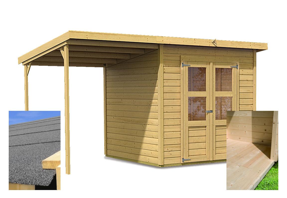 dřevěný domek KARIBU MERSEBURG 4 + přístavek 166 cm (14439) SET