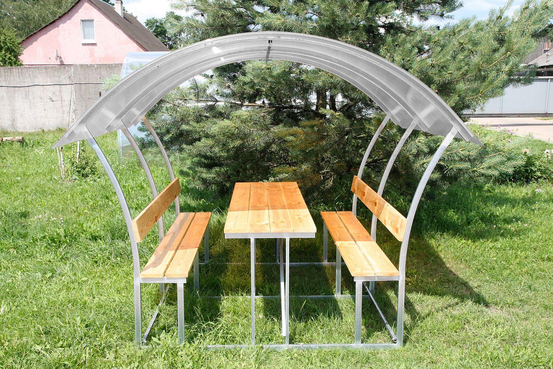 LANITPLAST ASTRA 3 / čirý PC 8 mm zahradní zastřešená lavička
