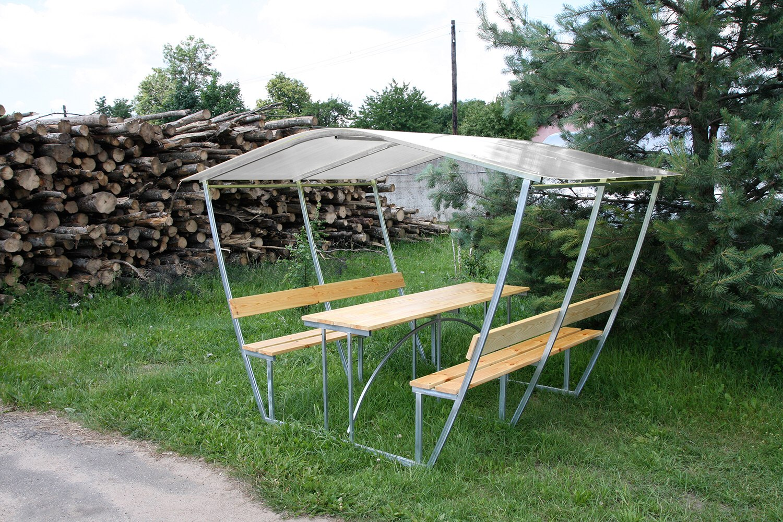 LANITPLAST TULIP 3 / čirý PC 8 mm zahradní zastřešená lavička