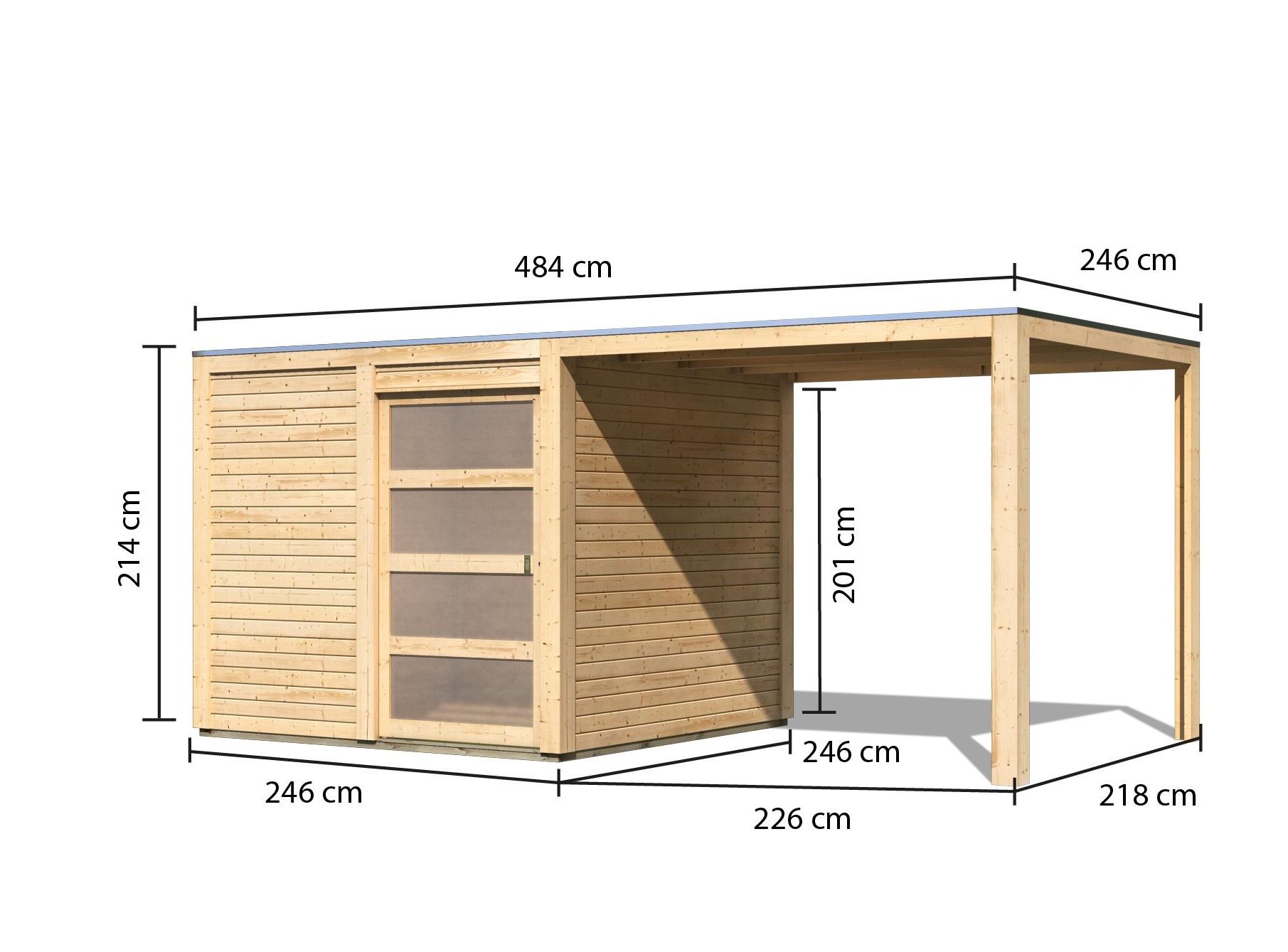 dřevěný domek KARIBU QUBIC 1 + přístavek (79847) natur