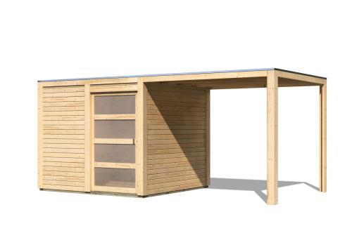 dřevěný domek KARIBU QUBIC 2 + přístavek 266 cm (88528) natur